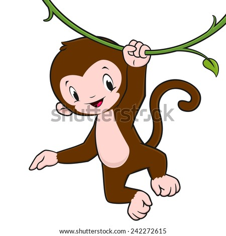 Cartoon Monkey Hanging Upside Down Cartoon Baby Monkey Hanging