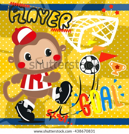 Cartoon baby monkey in soccer dress playing soccer ball on polka dot background illustration vector.