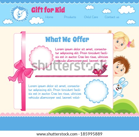 Cartoon baby template. Gift for Kid - stock vector