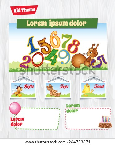 Cartoon background for kid template - stock vector