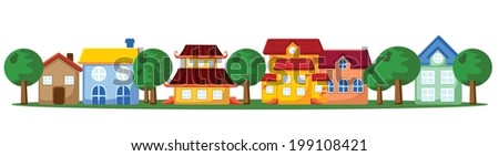 Cartoon background of houses