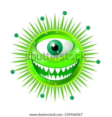Cartoon Bacteria Fun Character Cute Monster Stock Vector 539466067