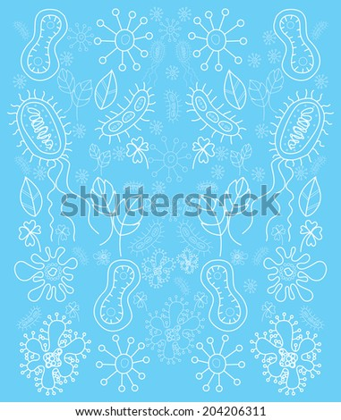 Cartoon bacteria Pattern Vector on Blue Background - stock vector