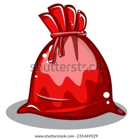 cartoon bag Santa Claus on white background vector - stock vector