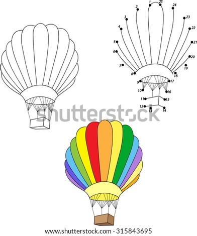 Cartoon balloon. Coloring and dot to dot educational game for kids. Vector illustration - stock vector