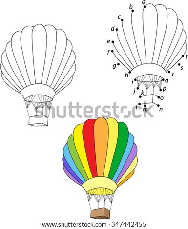 Cartoon balloon. Vector illustration. Coloring and dot to dot educational game for kids - stock vector