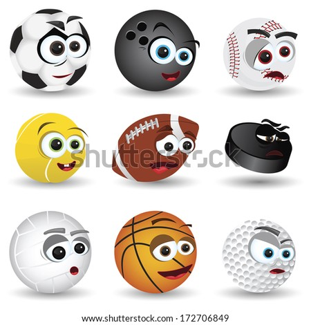 cartoon balls - stock vector