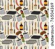 cartoon barbeque party tool seamless pattern - stock photo