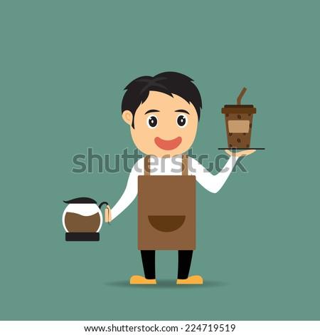 Cartoon barista presents coffee in his shop, vector illustration. - stock vector