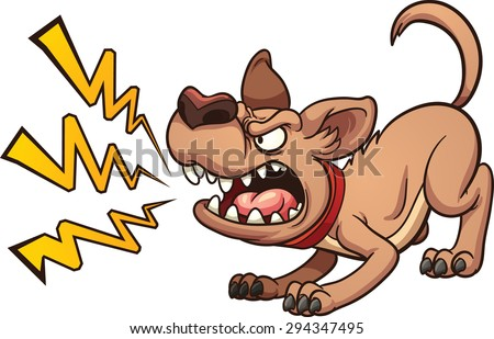 Cartoon barking dog. Vector clip art illustration with simple gradients. Dog and bark on separate layers - stock vector