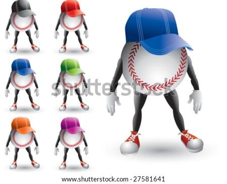 cartoon baseballs with hats - stock vector