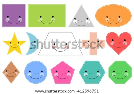 Cartoon basic geometric shapes. Smiling shapes. Isolated on white background. Design elements for children - stock vector