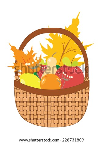 Cartoon basket with apples, pears and autumn maple leaves.