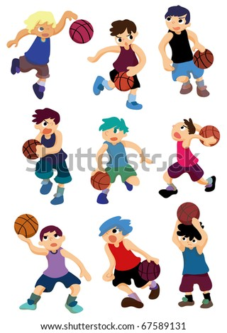 cartoon basketball player icon - stock vector