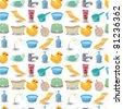 cartoon Bathroom Equipment seamless pattern - stock vector