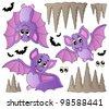 Cartoon bats collection - vector illustration. - stock vector