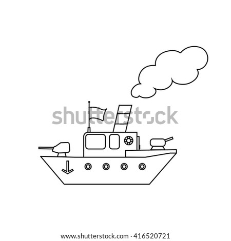 Cartoon battleship - stock vector