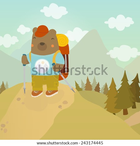 Cartoon bear adventure tourist. Vector hand drawn illustration - stock vector