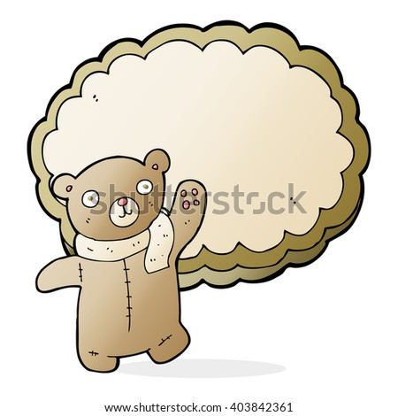 cartoon bear in front of cloud with space for text - stock vector