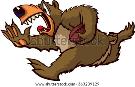 Cartoon Bear running with a football. Vector File. Running Bear  - stock vector