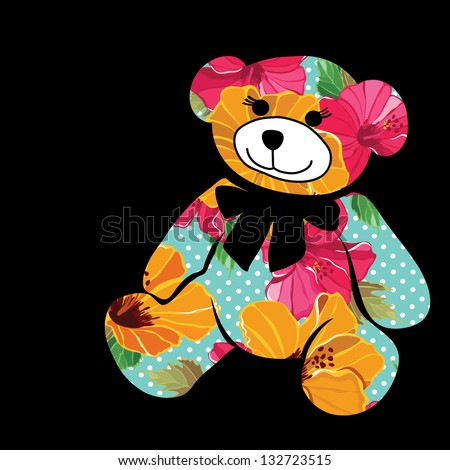 Cartoon bear. The silhouette of the elephant collected from flower pattern. - stock vector