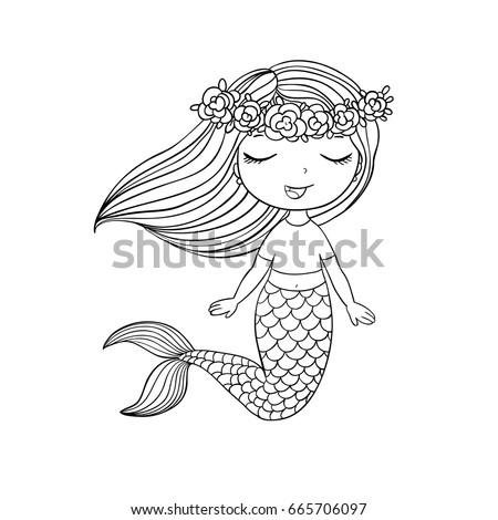 cartoon beautiful little mermaid in a wreath siren sea theme vector illustration on
