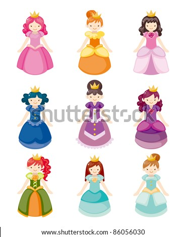 cartoon beautiful princess icons set - stock vector