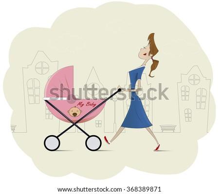 Cartoon beautiful young mom pushing baby carriage walking through the city. Motherhood, parents cartoon illustration. Vector - stock vector
