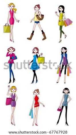 cartoon Beauty woman icon - stock vector