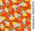 cartoon bee boy seamless pattern - stock vector