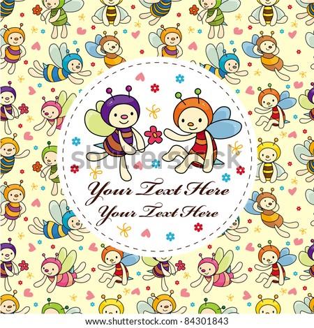 cartoon bee card - stock vector