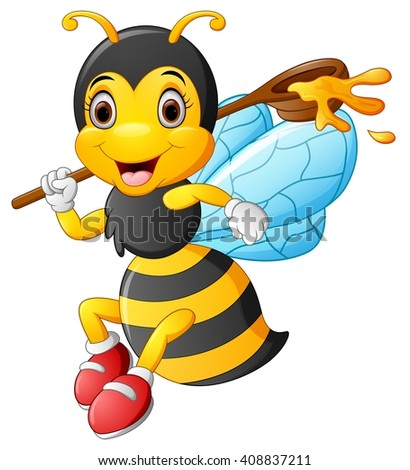 cartoon bee holding scoop of honey