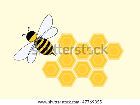 Cartoon bee in honeycomb, vector illustration