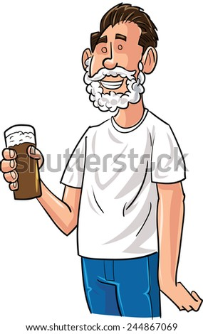 Cartoon beer drinker with Santa beard. Isolated - stock vector