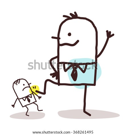 cartoon big businessman pushing down a small one vector - stock vector