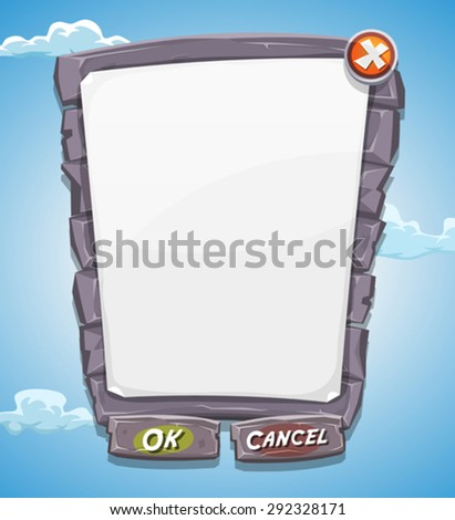 Cartoon Big Stone Agreement Panel For Ui Game Illustration of a funny cartoon ui game big stony information panel with buttons, for conditions agreement on tablet pc, with blue summer sky background - stock vector