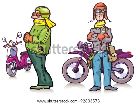 Cartoon bikers are standing near their bikes