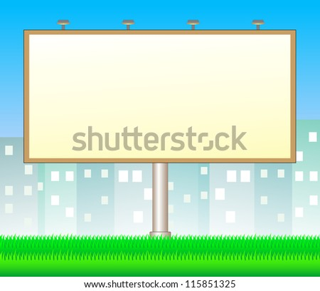 cartoon billboard on city background with space for text - stock vector
