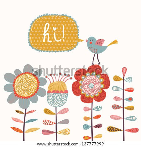 Cartoon bird and flowers in vector. Bright summer card - stock vector
