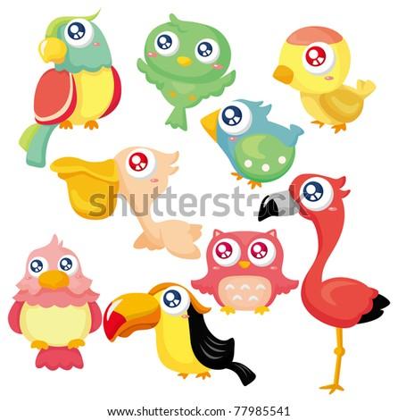 cartoon bird icon set - stock vector