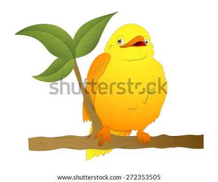 Cartoon Bird on Branch Vector - stock vector