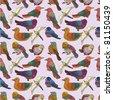 cartoon bird seamless pattern - stock vector