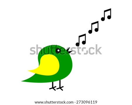cartoon bird sings