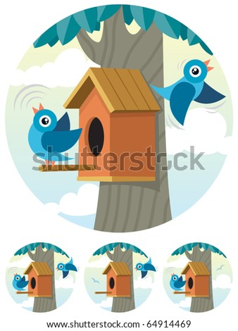 Cartoon birdhouse and 2 bluebirds depicted in 4 different situations.  - stock vector