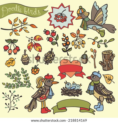 Cartoon birds and floral element. Berries,Nest with Chicks,wood,ribbon,branches,acorn,cone,spruce,wood. Funny forest autumn set for design template.Vector