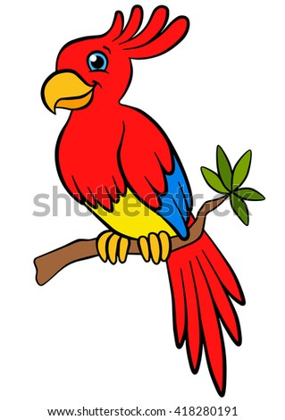 Cartoon birds for kids. Little cute parrot sits on the tree branch and smiles. - stock vector