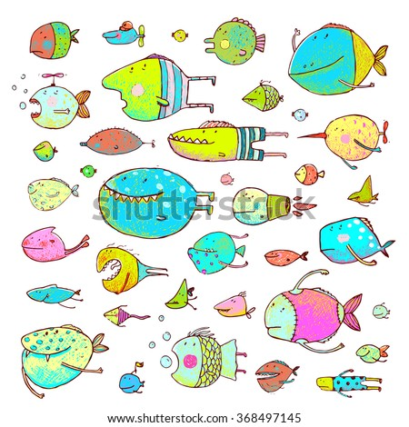 Cartoon Bizarre Fish Collection for Kids Hand Drawn. Fun cartoon hand drawn queer fish for children design illustrations set. Pencil style. EPS10 vector has no background color. - stock vector