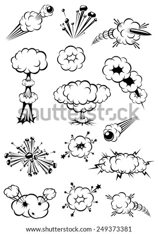 Cartoon black and white explosions of bombs and motion trails of bullets - stock vector