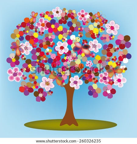 Cartoon blossoming tree with colorful abstract flowers and butterflies - stock vector