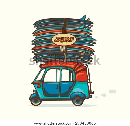 Cartoon blue auto rickshaw with surfboards. Vector illustration about surfing. - stock vector